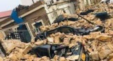 Parking wall damaged in Karachi due to rain damaging expensive vehicles