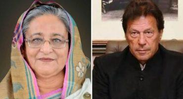 PM Imran Khan talks to his Bangladeshi counterpart