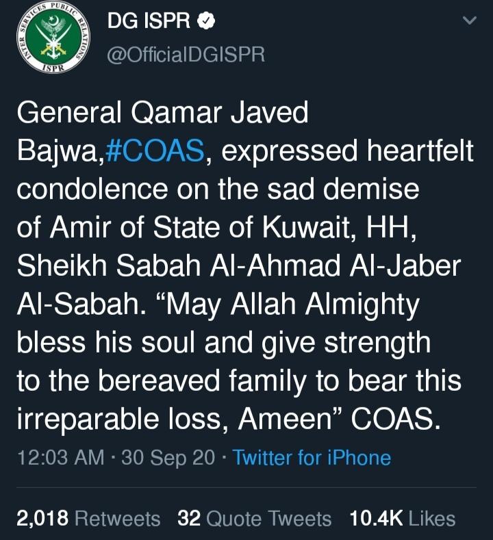 General Qamar javed Bajwa and Arif Alvi grieved on Amir e Kuwait 's death