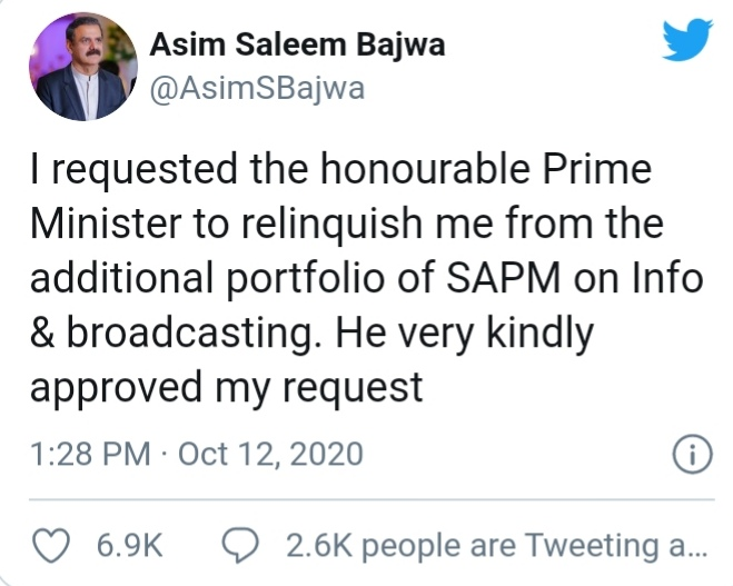Asim Saleem Bajwa resigns as Special Assistant to PM