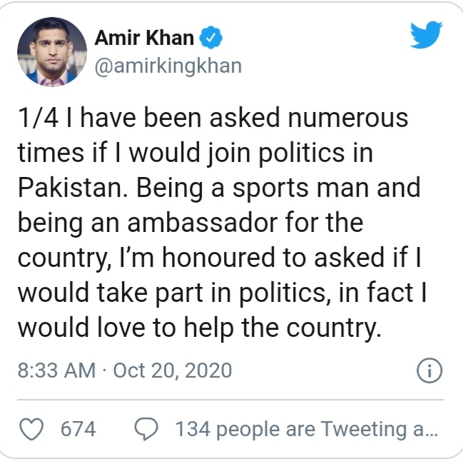 Amir Khan ready to step in to politics