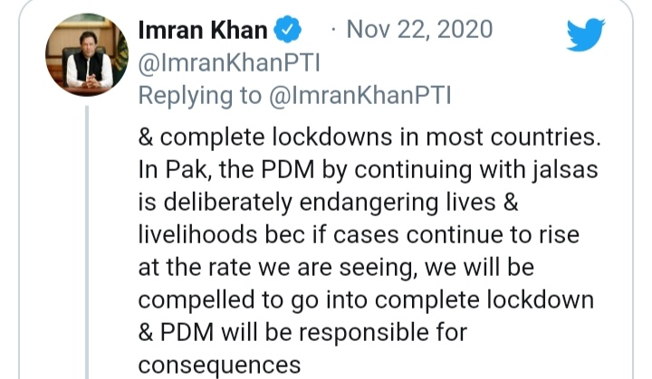 PDM will be responsible of increased corona cases, PM Imran Khan