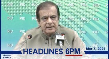 Watch SAMAA TV Headlines 6pm Pakistan – 7 March 2021