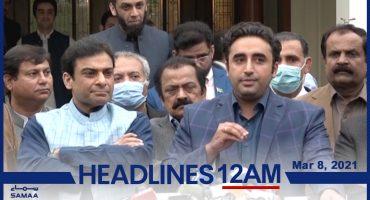 Watch SAMAA TV Headlines 12am Pakistan – 8 March 2021